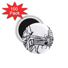 Line Art Drawing Ancient Chariot 1 75  Magnets (100 Pack)