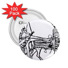 Line Art Drawing Ancient Chariot 2 25  Buttons (100 Pack)