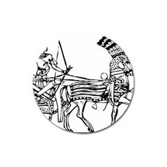 Line Art Drawing Ancient Chariot Magnet 3  (round)
