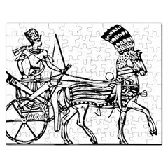 Line Art Drawing Ancient Chariot Rectangular Jigsaw Puzzl