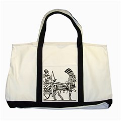 Line Art Drawing Ancient Chariot Two Tone Tote Bag