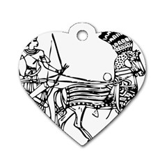 Line Art Drawing Ancient Chariot Dog Tag Heart (two Sides)