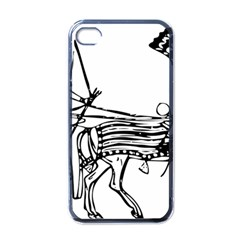 Line Art Drawing Ancient Chariot Apple Iphone 4 Case (black)