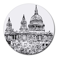 Line Art Architecture Church Round Mousepads