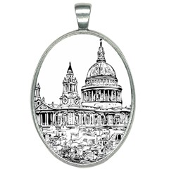 Line Art Architecture Church Oval Necklace