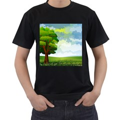 Landscape Nature Natural Sky Men s T Shirt (black) (two Sided)