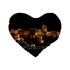 Budapest Buda Castle Building Scape Standard 16  Premium Flano Heart Shape Cushions