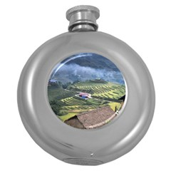 Rock Scenery The H Mong People Home Round Hip Flask (5 Oz)