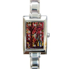 Autumn Colorful Nature Trees Rectangle Italian Charm Watch