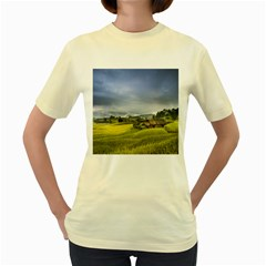 Vietnam Terraces Rice Silk Women s Yellow T Shirt