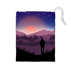 Dusk Sunset Dawn Sky Evening Drawstring Pouch (large)