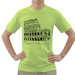Line Art Architecture Green T Shirt by Samandel