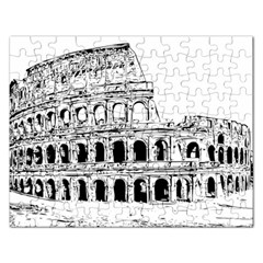 Line Art Architecture Rectangular Jigsaw Puzzl