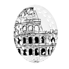 Line Art Architecture Oval Filigree Ornament (two Sides)