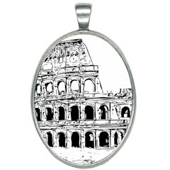 Line Art Architecture Oval Necklace