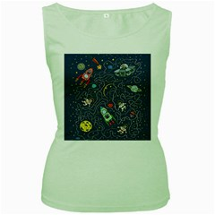 Cat Cosmos Cosmonaut Rocket Women s Green Tank Top by Samandel