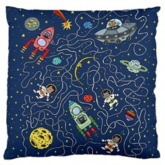 Cat Cosmos Cosmonaut Rocket Large Cushion Case (one Side)