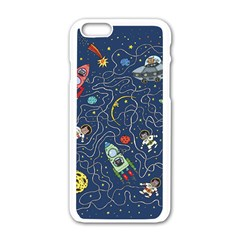 Cat Cosmos Cosmonaut Rocket Apple Iphone 6/6s White Enamel Case