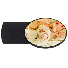 Roses Plate Romantic Blossom Bloom Usb Flash Drive Oval (2 Gb)