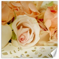 Roses Plate Romantic Blossom Bloom Canvas 16  X 16