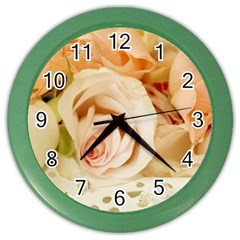 Roses Plate Romantic Blossom Bloom Color Wall Clock