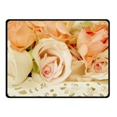 Roses Plate Romantic Blossom Bloom Double Sided Fleece Blanket (small)