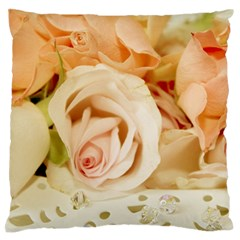 Roses Plate Romantic Blossom Bloom Large Flano Cushion Case (one Side)