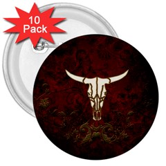 Awesome Cow Skeleton 3  Buttons (10 Pack)  by FantasyWorld7