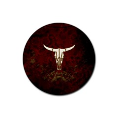 Awesome Cow Skeleton Rubber Coaster (round)  by FantasyWorld7