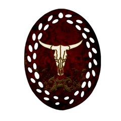 Awesome Cow Skeleton Oval Filigree Ornament (two Sides) by FantasyWorld7