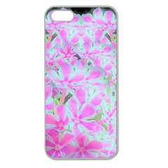 Hot Pink And White Peppermint Twist Flower Petals Apple Seamless Iphone 5 Case (clear)