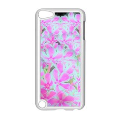 Hot Pink And White Peppermint Twist Flower Petals Apple Ipod Touch 5 Case (white) by myrubiogarden