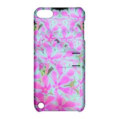 Hot Pink And White Peppermint Twist Flower Petals Apple Ipod Touch 5 Hardshell Case With Stand by myrubiogarden