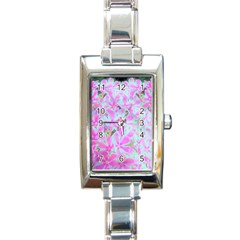Hot Pink And White Peppermint Twist Flower Petals Rectangle Italian Charm Watch by myrubiogarden