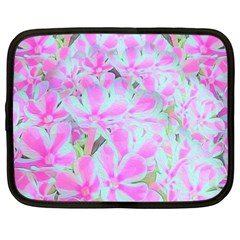 Hot Pink And White Peppermint Twist Flower Petals Netbook Case (xxl)