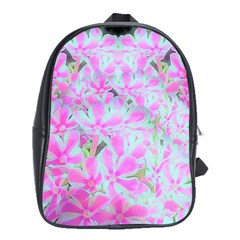 Hot Pink And White Peppermint Twist Flower Petals School Bag (large) by myrubiogarden