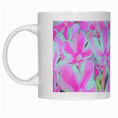 Hot Pink And White Peppermint Twist Flower Petals White Mugs by myrubiogarden