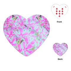 Hot Pink And White Peppermint Twist Flower Petals Playing Cards (heart) by myrubiogarden