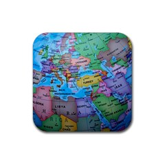 Globe World Map Maps Europe Rubber Square Coaster (4 Pack)