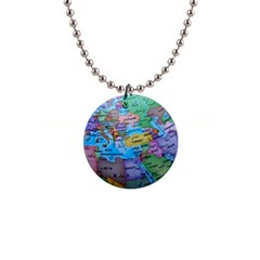 Globe World Map Maps Europe 1  Button Necklace