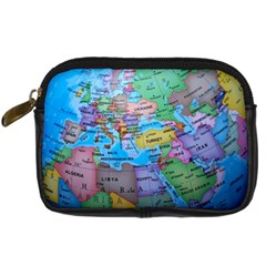 Globe World Map Maps Europe Digital Camera Leather Case