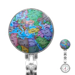 Globe World Map Maps Europe Stainless Steel Nurses Watch