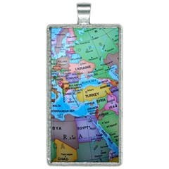 Globe World Map Maps Europe Rectangle Necklace