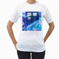 Tardis Space Women s T Shirt (white) (two Sided)