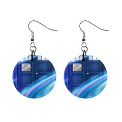 Tardis Space Mini Button Earrings