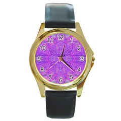 Hot Pink And Purple Abstract Branch Pattern Round Gold Metal Watch by myrubiogarden