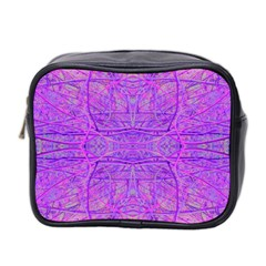 Hot Pink And Purple Abstract Branch Pattern Mini Toiletries Bag (two Sides)