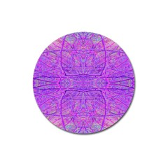 Hot Pink And Purple Abstract Branch Pattern Magnet 3  (round)