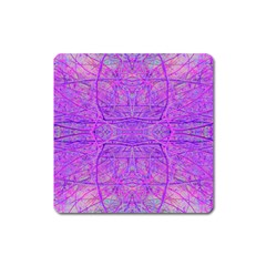 Hot Pink And Purple Abstract Branch Pattern Square Magnet by myrubiogarden