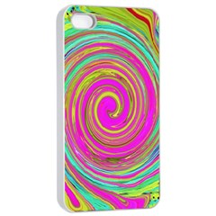 Groovy Abstract Pink, Turquoise And Yellow Swirl Apple Iphone 4/4s Seamless Case (white) by myrubiogarden